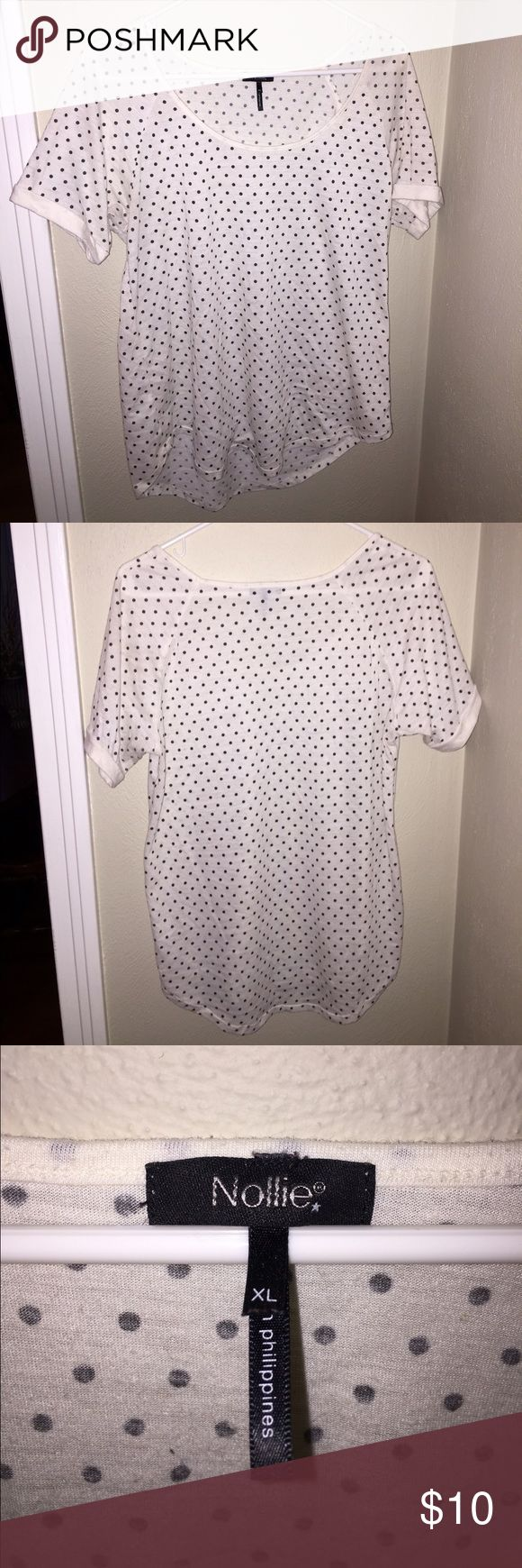 XL, polka dot, short sleeve, tshirt, Nollie XL, black and white, polka dots, cuffed short sleeves, tshirt, crew neck, Nollie, only worn a few times Nollie Tops Tees - Short Sleeve