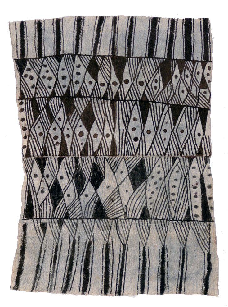 Africa | Bark cloth from the Mbuti people of DR Congo | Bark, pigment
