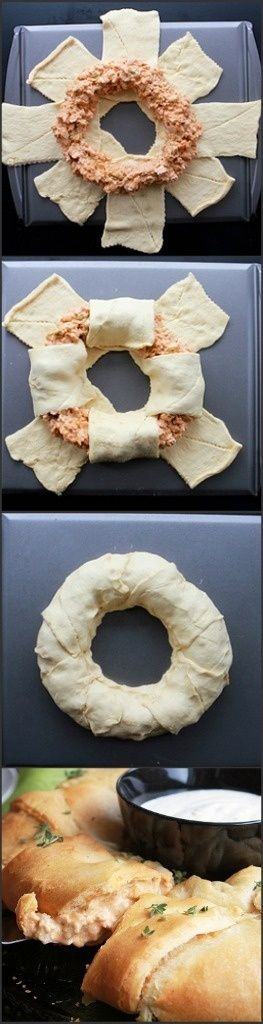 Buffalo Chicken Wreath How-To. OMG this was FANTASTIC!  I used the seamless Crescent dough and just cut the rectangles as needed. I baked it on a sheet of parchment paper then with an extra set of hands moved it to the serving platter when ready, it slid off the parchment really easy.