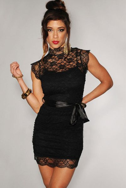 Soft lace bodice with a solid tone tank dress underlay  Ruched bodice  High lace neck  Short laced cap sleeves  Back zipper  Color-matching detachable satin belt  Body-hugging fit Shop here >> http://www.pearlaboutique.com/products/aaliyah-dress