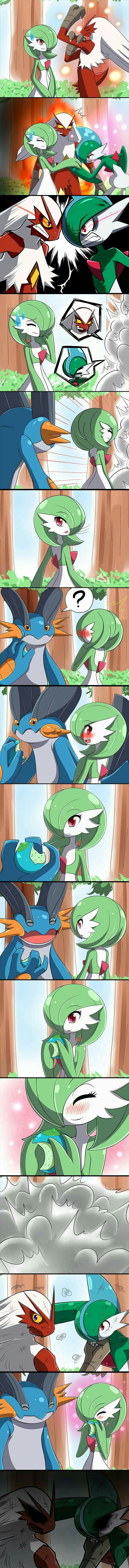Gardevoir, Gallade, Blaziken, Swampert, funny, comic, fighting, blushing, text, berry, couple; Pokémon