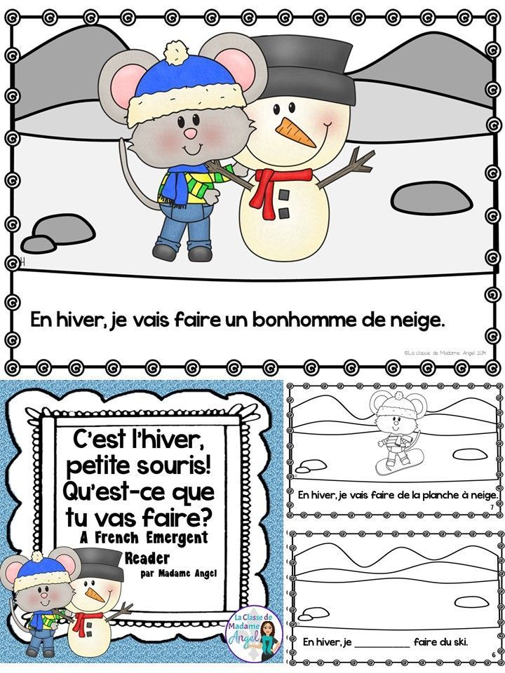 """C'est l'hiver!  Learn great vocabulary and practice the expression """"je vais . . ."""" with this fun and engaging emergent reader in French."""