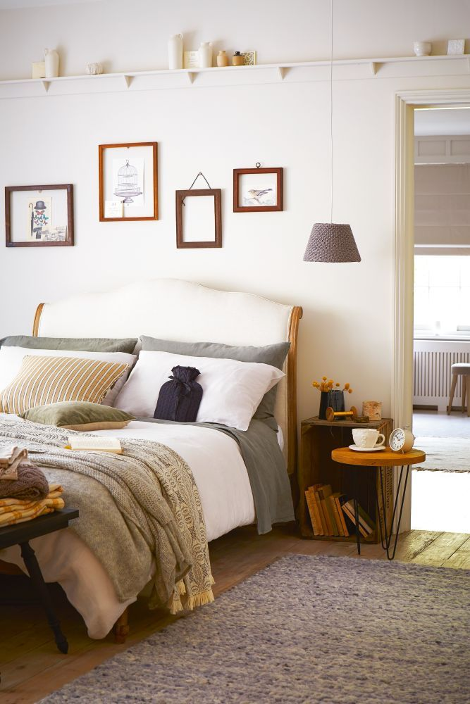 Our Coco bed styled by House Beautiful. Layer soft, neutral linen with woollen throws. Photography: Mark Scott