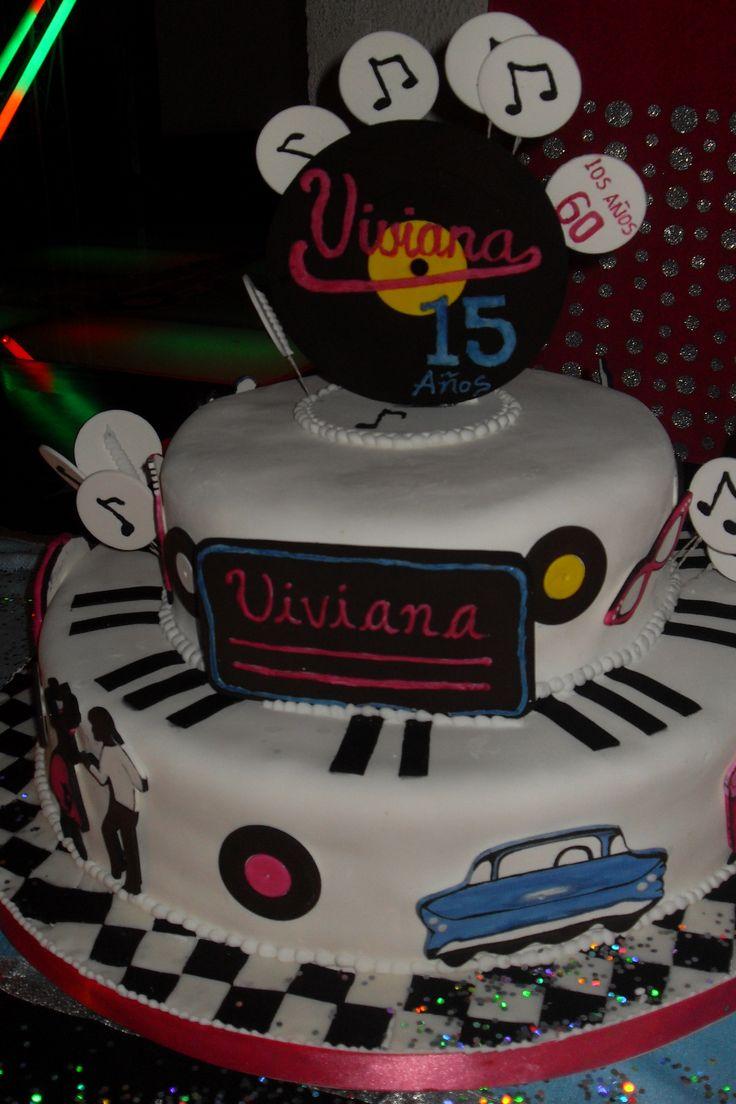 TORTA 15 AÑOS TEMATICA AÑOS 60. #partytimeeventos
