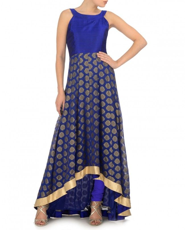 Royal Blue Anarkali Kurta Set with Asymmetric Hem - Festive Picks - Editor's Corner Top plus skirt with symmetrical hem idea