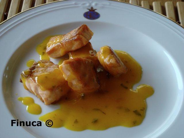 Receta SALMÓN CON SALSA DE NARANJA Y LIMÓN para Las Recetas de Finuca - Petit Chef: Little Chef, Orange, Recetas Salmón, Recipe, Con Salsa, Sauce, De Finuca, Kitchen