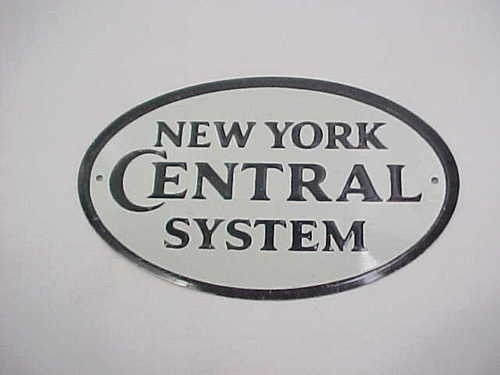 1950's Post Cereal Premium Tin Railroad Sign NEW YORK CENTRAL SYSTEM