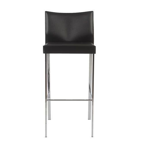 Riley Black Leather Bar Chair, Set Of Two Eurostyle Bar Height (28 To 36 Inch) Bar Stools