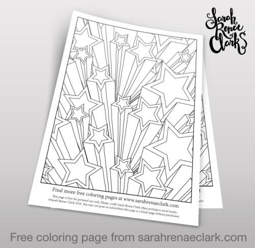 3d stars free adult coloring page