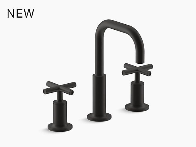 Purist Widespread Sink Faucet With Low Cross Handles K 14406 3 Kohler Sink Faucets Black Faucet Bathroom Matte Black Faucet