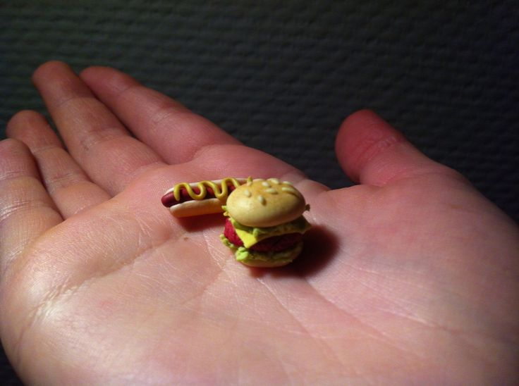 Hamburger & hot dog Fimo clay