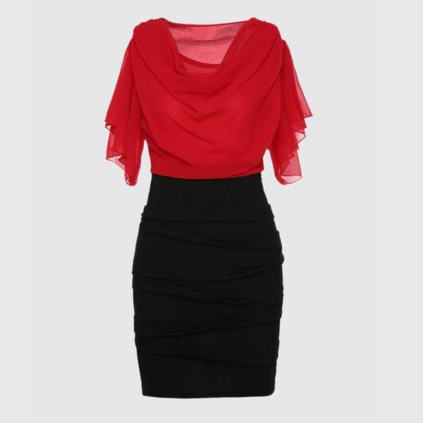 Dress Chiffon Women Elegant White Red Black Color Block Short Sleeve Pleated