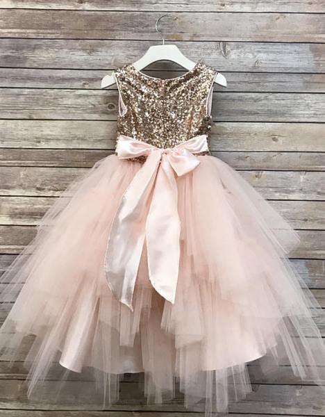 0234cb939c8 Sequin Top Rose gold Flower Girl Dress
