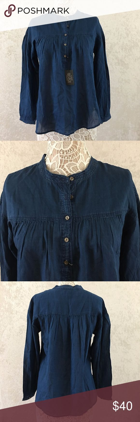 NWT J Crew Chambray Cotton Top Blouse Size 10 J Crew Women's Chambray Cotton Top Blouse Size 10 J. Crew Factory Tops Blouses