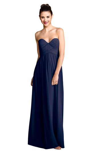 Navy Blue Strapless Bridesmaid Dress