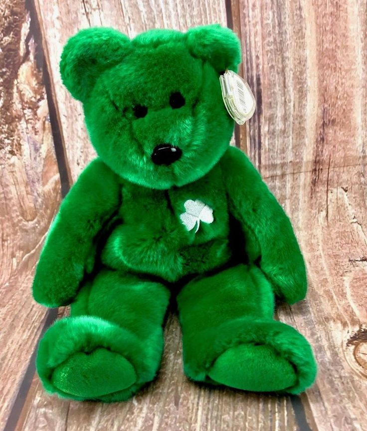 1998 Ty beanie buddies original Erin Irish Ireland shamrock plush soft toy teddy