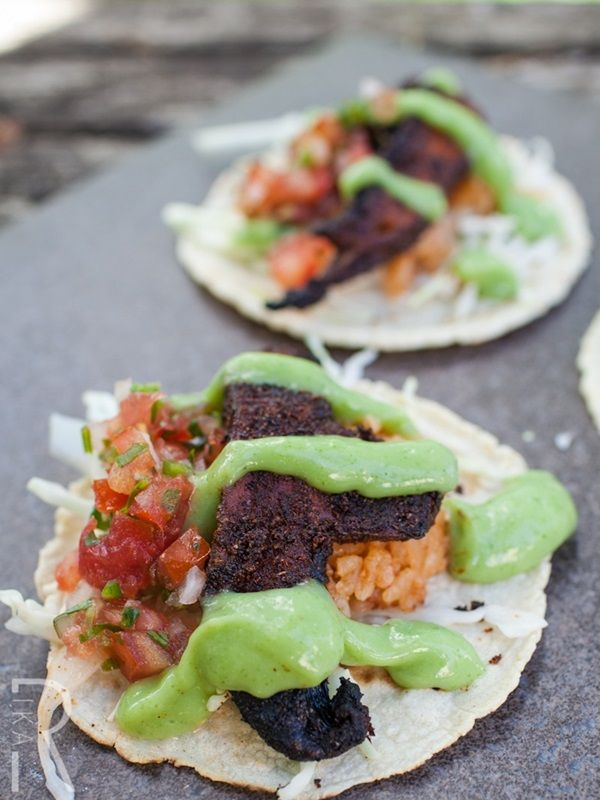Spicy Portobello Vegan Tacos with Cilantro Crema