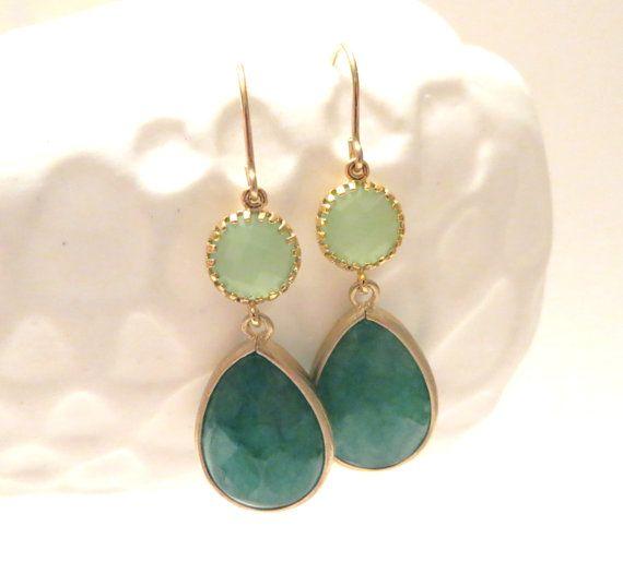Jade Green Earrings Gold Earrings Mint Earrings by LoveShineBridal, $29.00