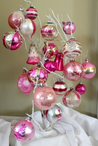 Vintage Pink Christmas Ornaments Glass Indent Bells Shiny Mercury Set 30 | eBay
