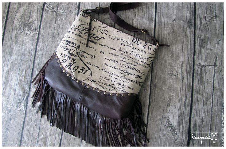 """Купить Сумка """"54"""" - коричневый, кожа, кожа натуральная, Кожаная сумка, сумка ручной работы"""