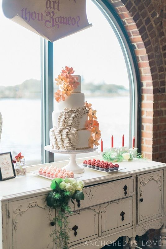 Cake + Cupcakes by Hot Pink Cake Stand - Vintage Chest by Cath's Chair Covers - Knot Too Shabby Events Wilmington, NC Wedding & Event Coordination - Knot Too Shabby Events  Wilmington, NC Event Planning & Wedding Coordination