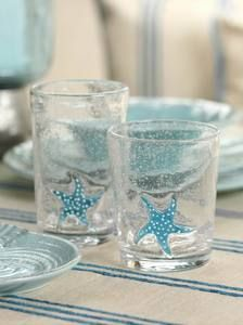 STARFISH GLASSWARE....  MY SISTER HAS THESE GLASSES...THEY ARE BEAUTIFUL!  Santa Barbara CA style!