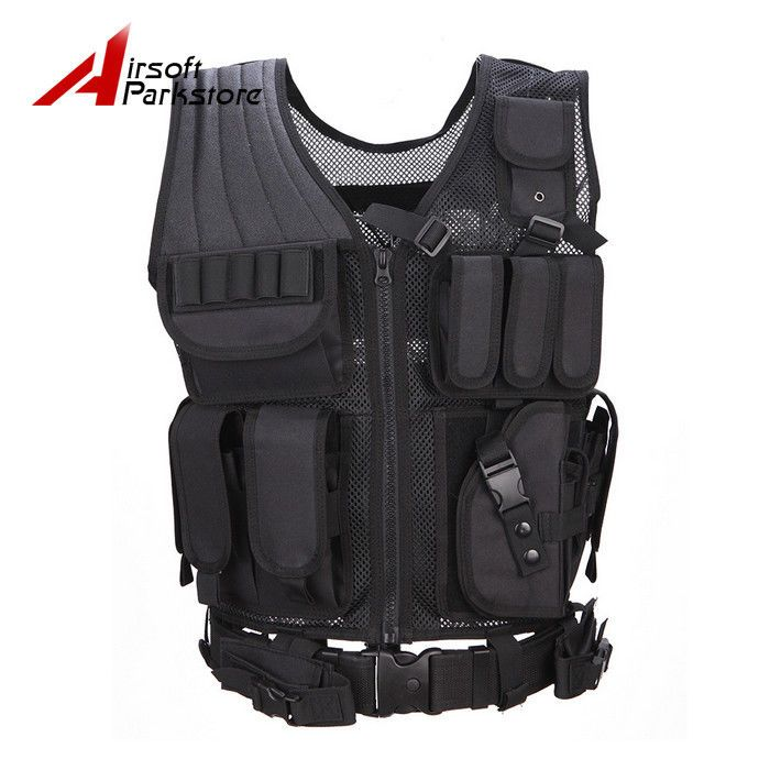 Military Tactical Heavy Duty Molle Combat Modular Assault Vest w/ Pistol Holster