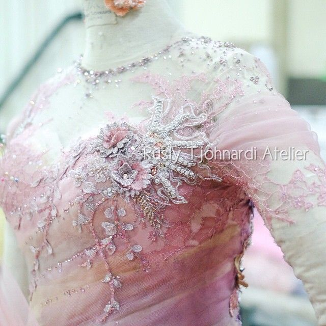 """Production"" Photo taken by @ruslytjohnardiatelier on Instagram #details #production #atelier #lace #embroidery #pink #bespoke #hautecouture #ruslytjohnardi #ruslytjohnardiatelier #oscarsgown #redcarpetdress #redcarpetgown"