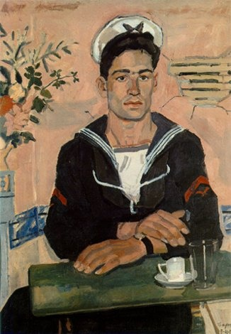 Forlorn Sailor Sitting Alone in a French Cafe, 1900-1910. Vintage Oil painting, male painting.