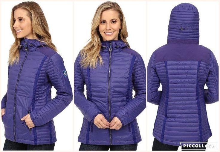 Women's Purple Kuhl Spyfire Hoodie 800 Goose Down Water Resistant Jacket Coat L #Kuhl #Puffer #Outdoor
