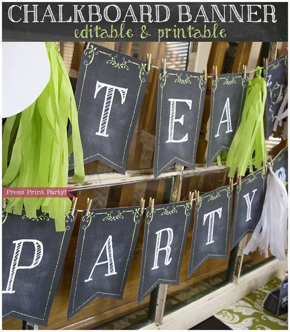 Chalkboard Banner - Editable & Printable - Tea Party, Baby Shower Bunting or Bridal Shower - White, Pink and Blue Text - INSTANT download Decorate your party like a pro with this versatile chalkboard printable banner. Excellent for all occasions, it's a quick and easy way to delight your guests.  Simply type in your letters and print on white card stock, these flags give the illusion of a real chalkboard. No need to mess with chalk!