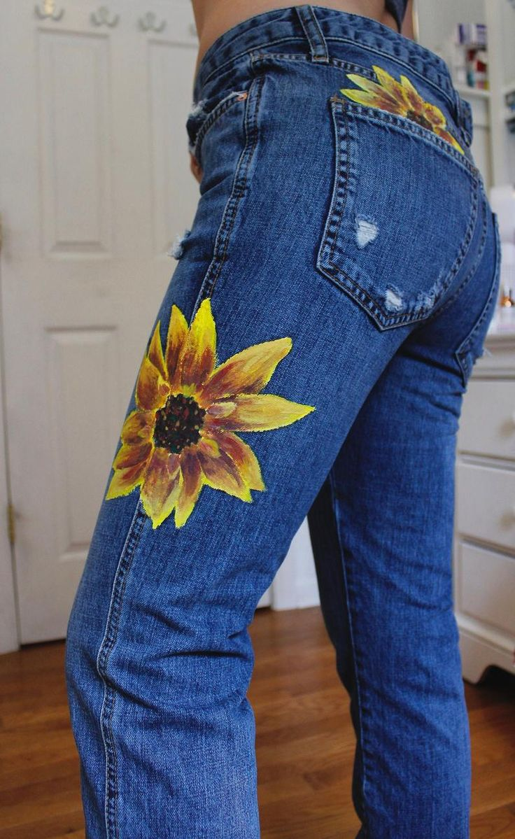 Hand painted sunflower jeans etsy in 2020 sunflower