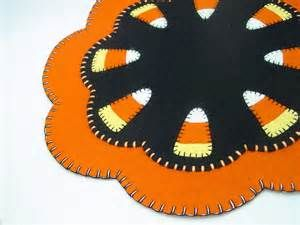 Halloween Candy Corn Design Penny Rug Table Candle or Tree