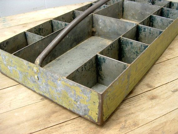 old industrial factory machinist 15 compartment metal storage bin tote tray
