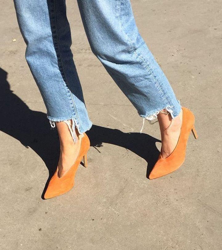 blue frayed step hem jebs orange suede point court pump shoes