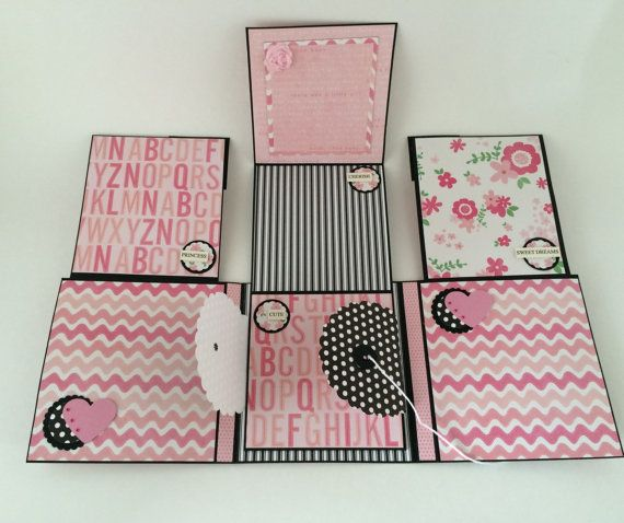 Baby Girl Photo Album  Pink and Black  Babies First Year