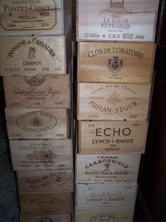 For cards? Vintage stamped Wooden Wine Crate / crates 12 or 6  Bottle French crested wine box. £10.00, via Etsy.
