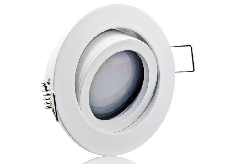 LED Einbaustrahler Set extra flach mit Marken Flat LED Spot LcLight 5 Watt Alu-Druckguß Rund weiß Klickverschluß Dimmbar 40 Watt Ersatz