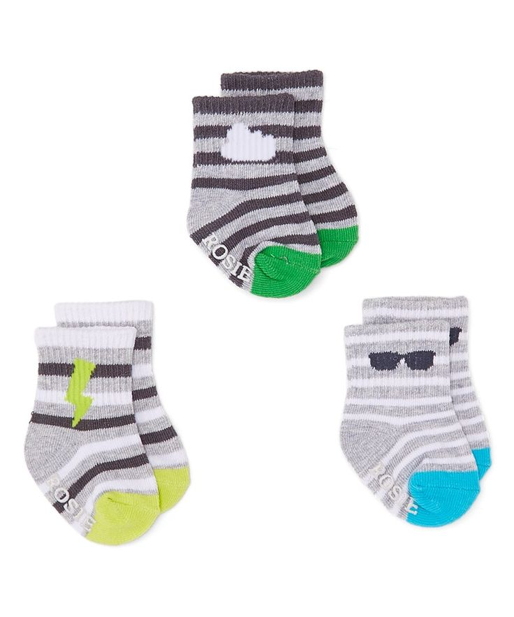 Take a look at this Electric Blue & Green Basics Three-Pair Non-Skid Socks Set today!