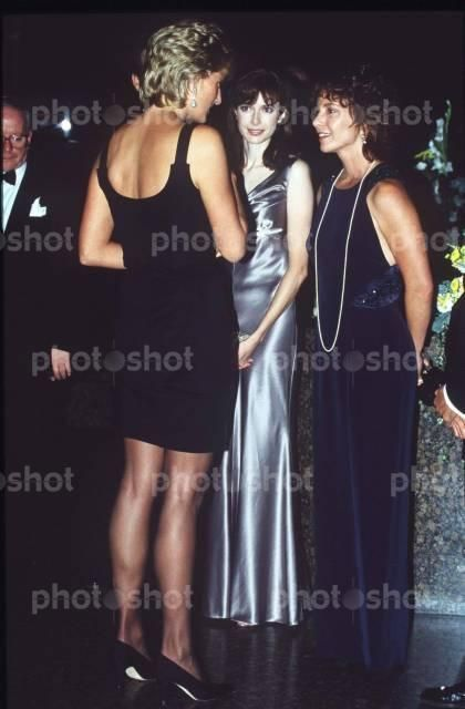 """September 14, 1995:  Princess Diana at the Premiere of """"Apollo 13"""" meeting the cast in London."""