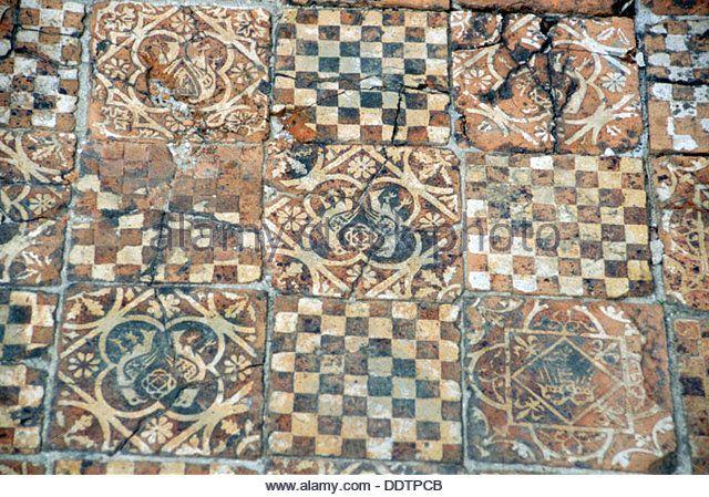Medieval floor tiles, Titchfield Abbey, Titchfield, Hampshire. Artist: L Jonas - Stock Image