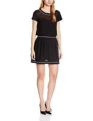 14, Black - Noir (Black), 2TWO Women's Harmel Short sleeve Dress NEW