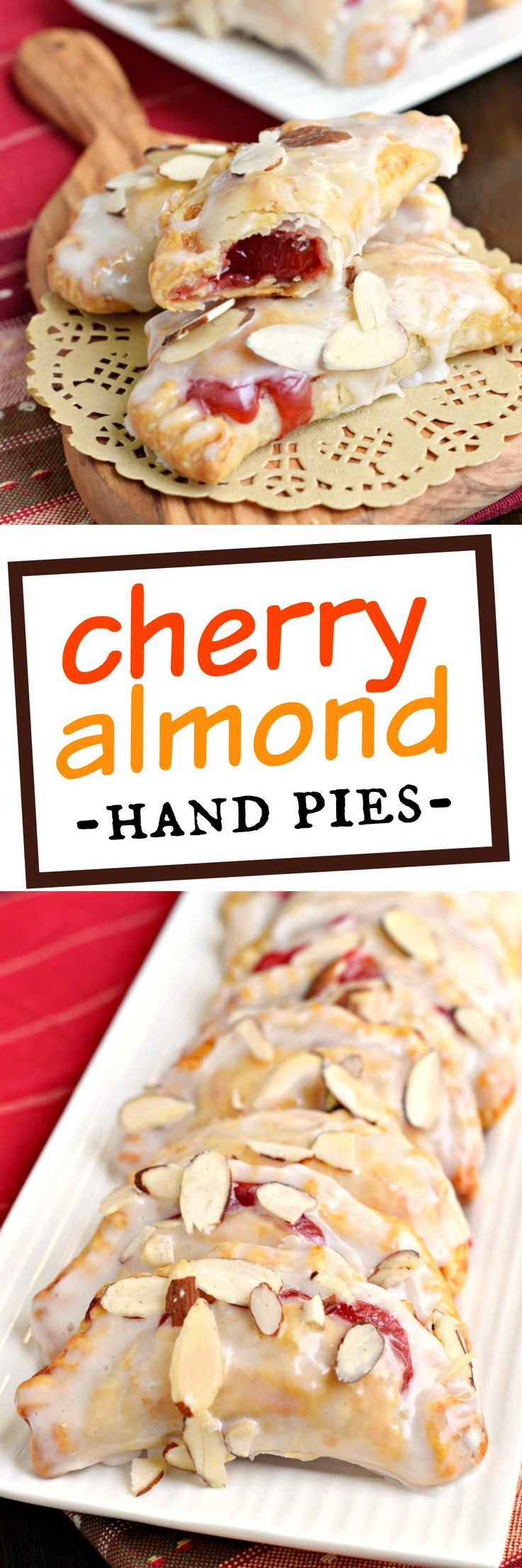 Easy, baked Cherry Almond Hand Pies! A flaky crust with a cherry almond pie filling, dipped in a sugary glaze and topped with sliced almonds. The perfect dessert!