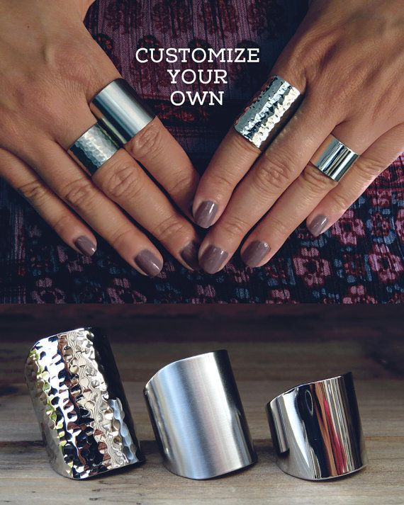 Gift for her Customize your own cuff ring Statement ring Bohemian jewelry Boho ring Edgy ring Stainless steel bohemian ring Silver tube ring