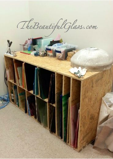 Custom built storage for stained glass.