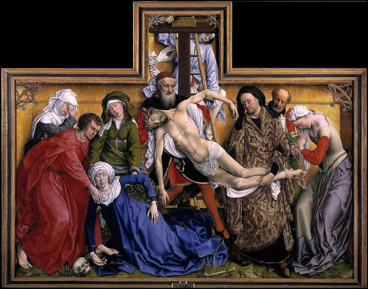 Rogier van der Weyden, 'The Descent from the Cross' c. 1435. Oil on oak panel, 220cm × 262 cm. Museo del Prado, Madrid