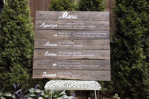 southern wedding food menus | This menu is made from salvaged wood with hand lettering in white ...