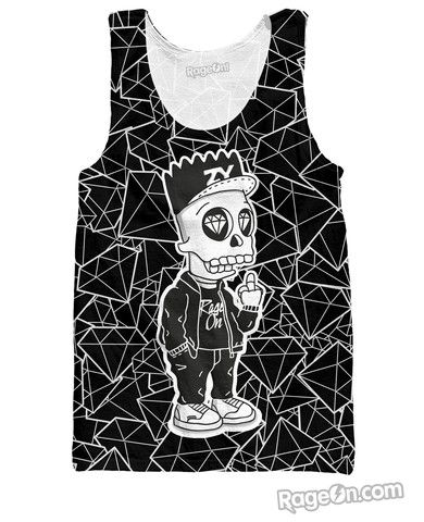"""Bart Skull Simpson Black Tank Top - Rage On! - The World's Largest All-Over Print Online Retailer **USE CODE**""""(  DYNAMITE  )""""** for 10% off"""