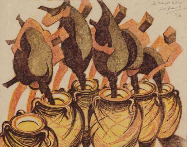 Sybil Andrews  -  Six Waterpots of Stone, 1988 Linocut 22 x 28.2 cms (8.65 x 11.08 in)