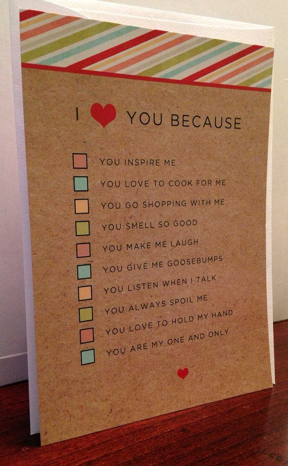 I Love You Because Boyfriend/Girlfriend or Husband/Wife Quiz Card and Envelope on Etsy, $4.00: